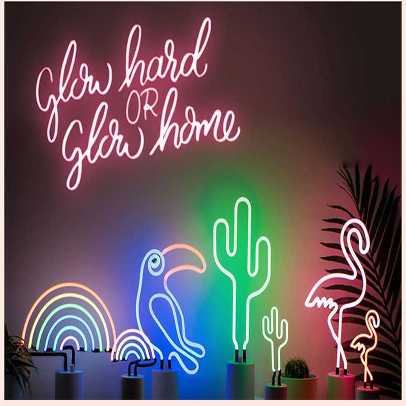 Neon Light LED Night Light Table Lamp Flamingo Rainbow Christmas Home 3D Desk Lamp for Holiday Xmas Party Wedding Decorations