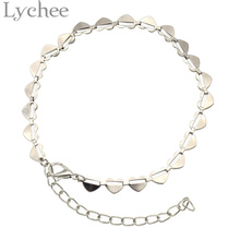 Lychee Bohemian Silver Color Anklet For Women Heart Imitation Pearl Ankle Bracelet Beach Shoe Boot Chain Foot Jewelry