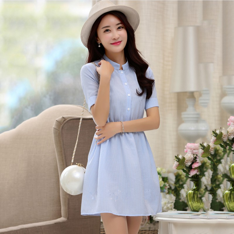Women Girl's Short Sleeve Striped Dress Casual Summer Solid Color Beach Party Shirt Mini Dresses Lady Vestido H7