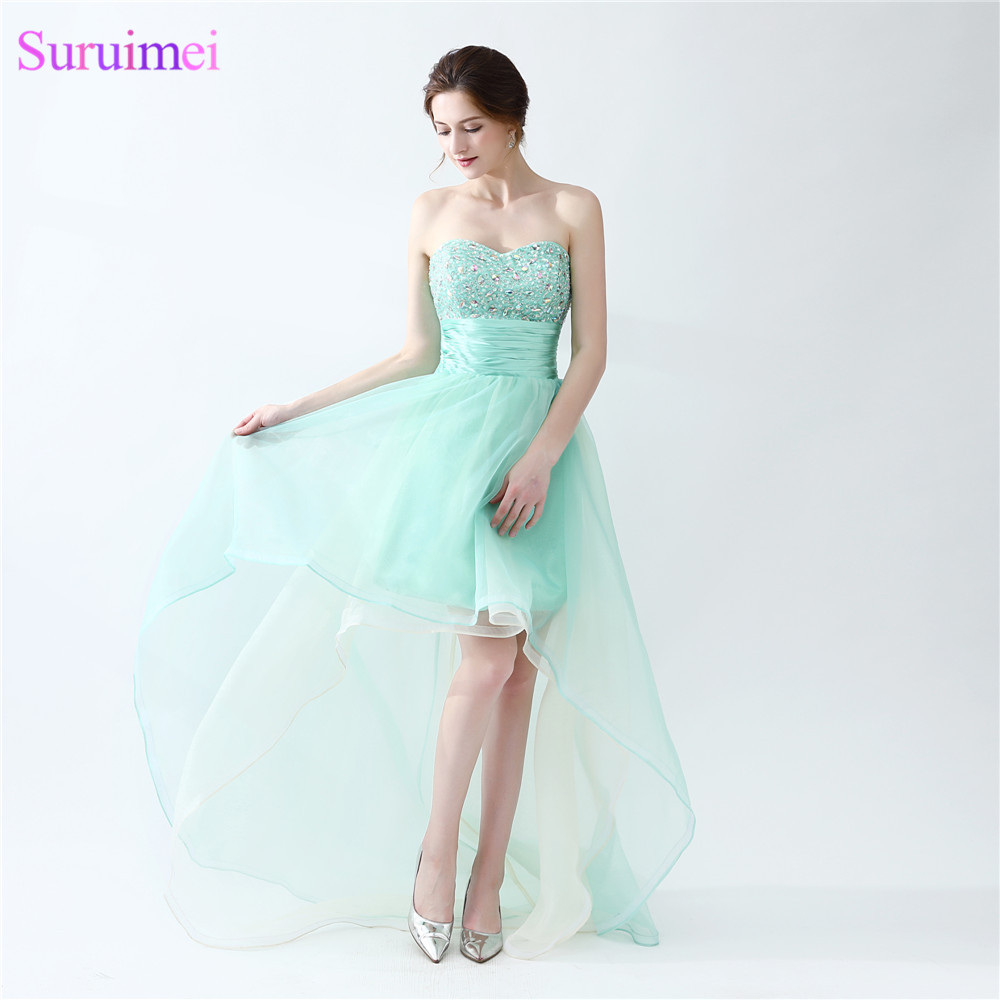 Mint Green Prom Dresses Beaded Sweetheart Organza Asymmetrical Short ...