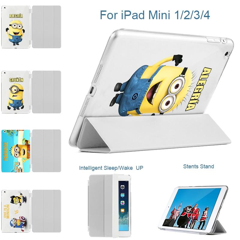 MTT Case for iPad mini 4 A1538/A1550 7.9-inch Retina Cases Print Minion For ipad Mini1 mini2 mini3 Leather Flip Case Smart Cover