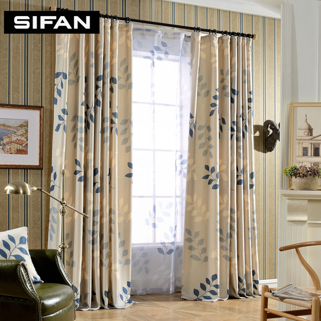 designer curtains for living room leaf printing blackout curtains for living room window 21263