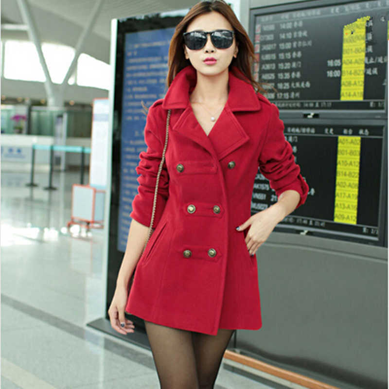New 2015 Women Winter Wool Coat Women's Double Breasted Coats Ladies Long Blue Red Camel Woollen Jacket Female Plaid Overcoats