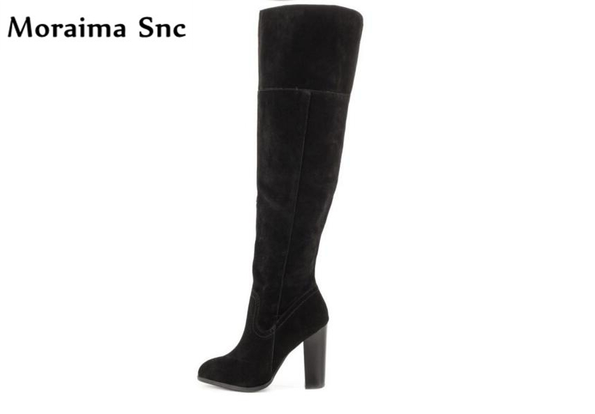 Moraima Snc Spring Fall riding boots side zipper round toe over-Knee-high Gladiator boot stilettos heel vintage suede long boots
