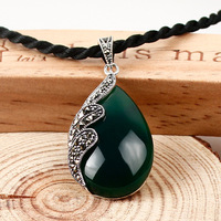 famous brand 2 colors retro 925 Sterling silver inlaid Black Green Pendant Natural semi precious stones jewelry water drop