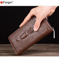 Men's crocodile pattern Genuine Leather wallet luxury men's leather wallet men business clutch bag zipper long section bag X509