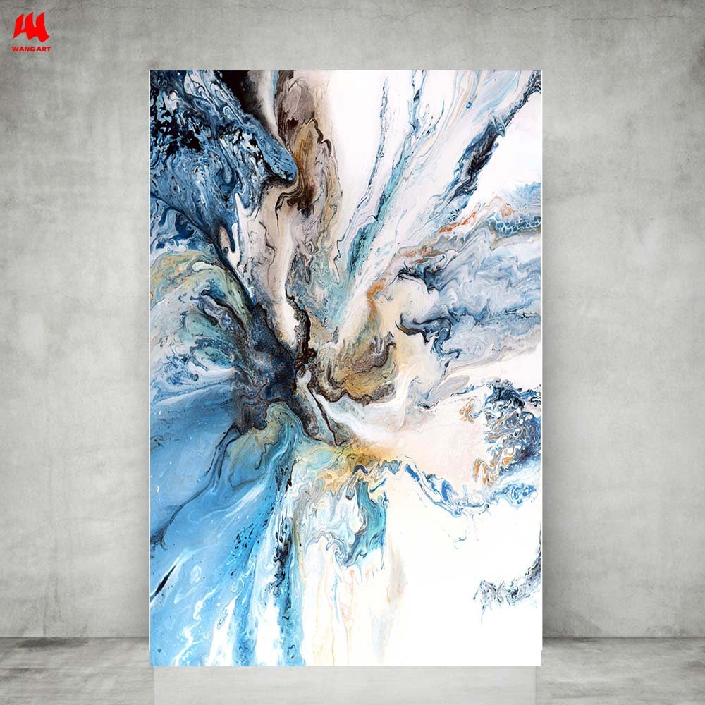WANGART Colorful Ocean Large Abstract Poster Canvas Art Landscape Oil Painting Wall Pictures For Living Room  Modern No Frame