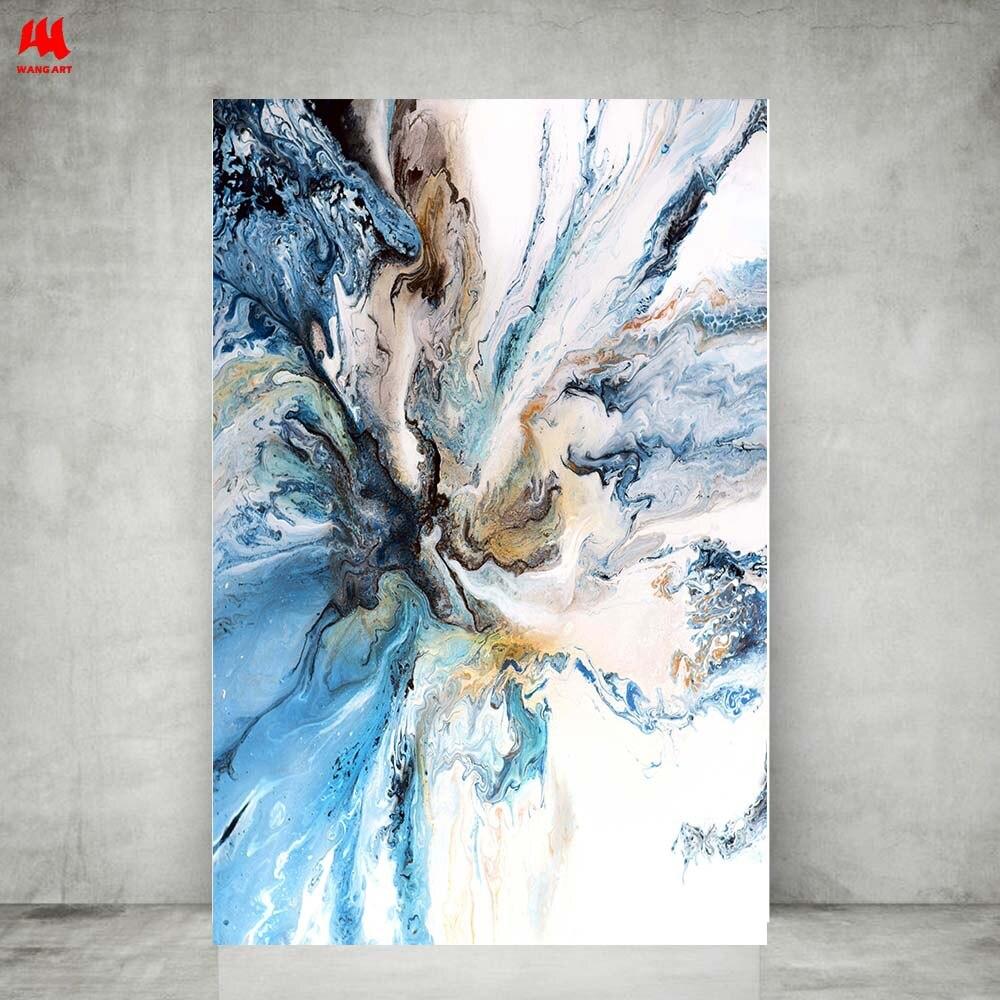 WANGART Colorido Oceano Grande Cartaz Abstrato Da Arte Da Lona Pintura A Óleo Da Paisagem Parede Pictures Para Sala de estar Moderna sem moldura