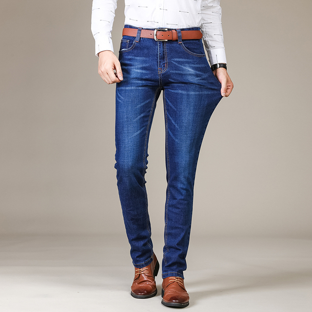 SULEE Brand 2019 New Men's Slim Elastic Jeans Fashion Business Classic Style Skinny Jeans Denim Pants Trousers Male 5 Model 3