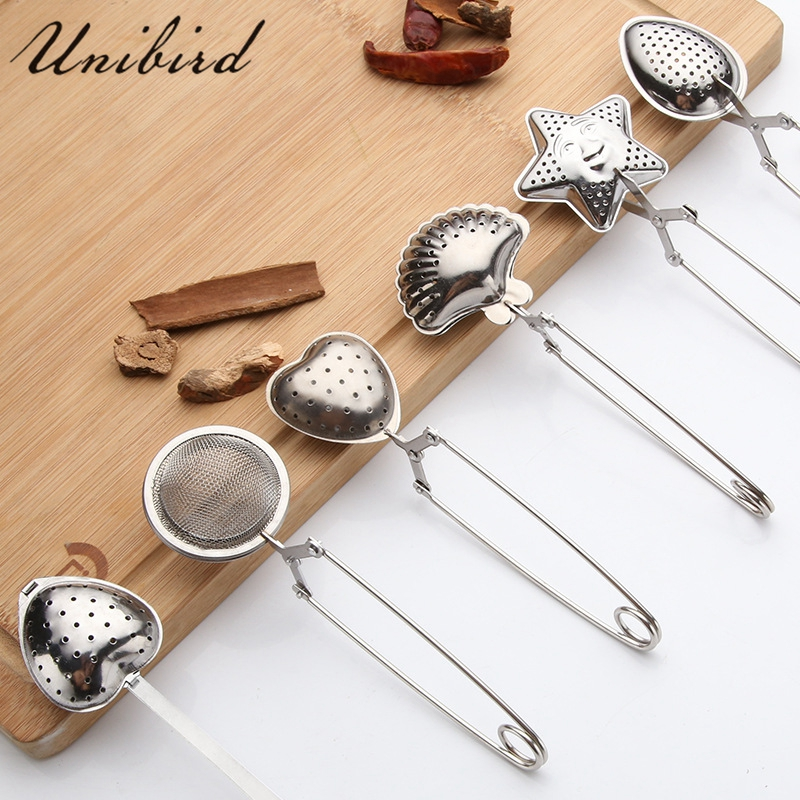 Unibird 1pc Stainless Steel <font><b>Tea</b></font> Strainer Heart Shape <font><b>Tea</b></font> Spoon Seasoning Infuser Star Shell Oval Round Style Strainer Teaware