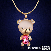 Bohemian Bear Long Collier Cute Charm Necklaces Pendants Crystal From Swarovski Bijoux Costume Jewerly Opal Christmas