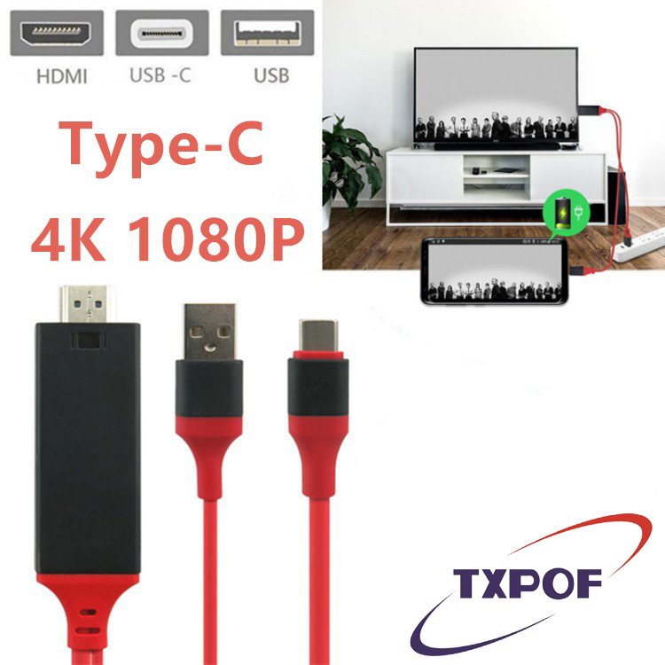 TXPOF 6.6FT USB C Type C to 4K HDMI HDTV Digital AV Adapter Charging Cable Android For Samsung Galaxy S8 S9 Huawei