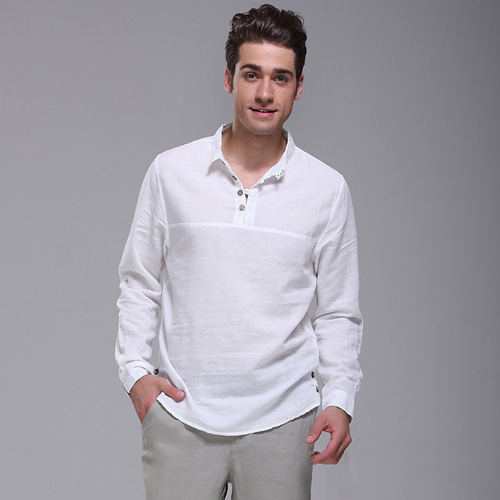 97f44183ea82 Spring male casual shirt long-sleeve shirt linen Men white linen shirt  fluid pullover shirt male hemp