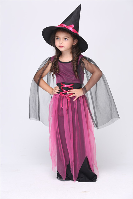 Halloween Girls Witch Costume Purple Dress Scary Costumes for Halloween Witches Clothing for Kids with Hat  sc 1 st  AliExpress.com & Halloween Girls Witch Costume Purple Dress Scary Costumes for ...