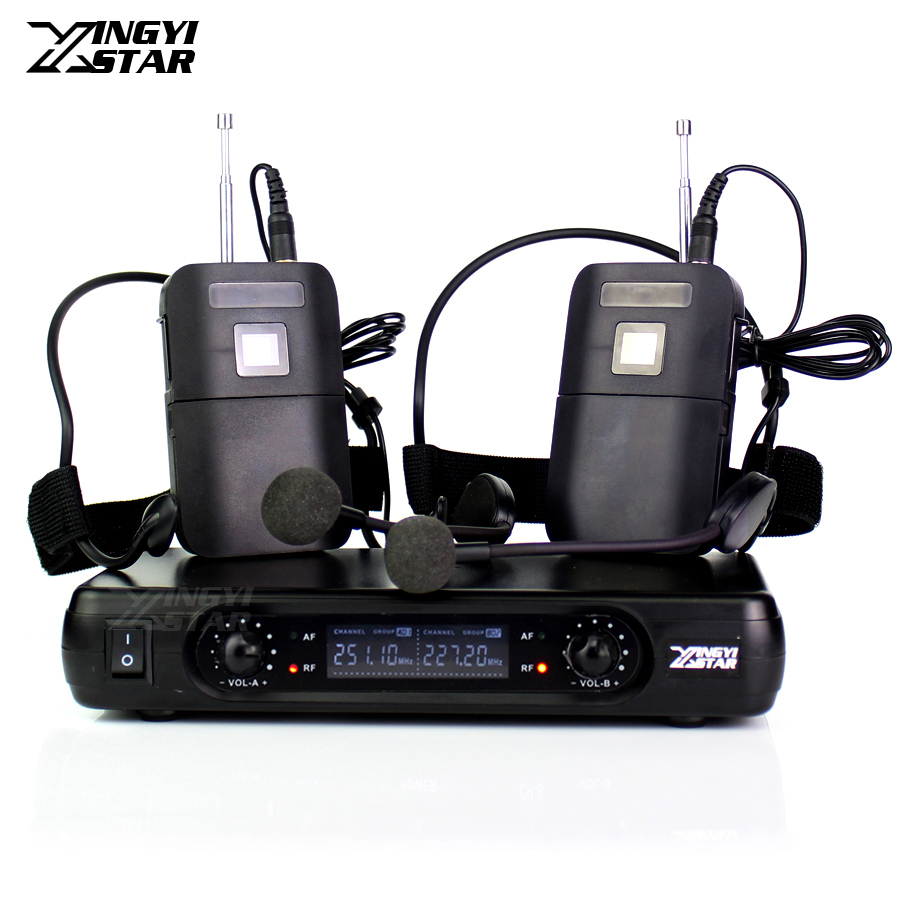 ME3 Headworn Microphone Professional Wireless Mic 2 Channels Cordless Receiver For Karaoke System DJ Mixer Bodypack Transmitter professional karaoke wireless microphone system 2 channels led display receiver cordless handheld mike for mixer stage computer