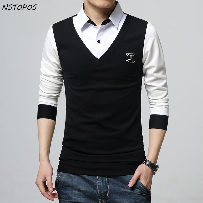 18423ccad04 5Xl Plus Size Fake 2 Pieces Polo Shirt Men Contrast Color Black Navy Green  Red Slim Fit Polo Homme Men Polo Shirt Long Sleeve
