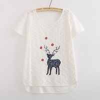 Japanese Mori Girl Tee Shirt Femme Loose Embroidery Graphic Tees Women Short Sleeve Casual White Summer