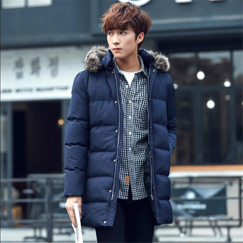 ФОТО Hat Detachable Men Winter Parka Thicken Long Cotton Jackets Men Solid Male Jackets And Coats Parka Men Clothing A2704