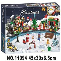 New Christmas Advent Calendar Santa Claus Train Journey Figures Building Blocks Model Kit Toys Compatible with legoings Gifts