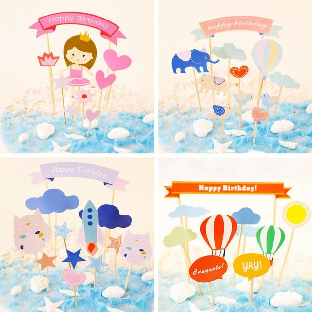 happy birthday cake toppers stickers cartoon baby shower party decoration party favor for sweet girls birthday