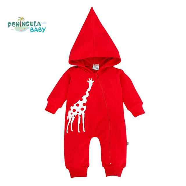 Primavera Otoño Mamelucos Del Bebé Recién Nacido Ropa de Algodón Outwear Niños Niñas Lindo de la Jirafa Mono Infantil de Manga Larga Con Capucha ropa de Abrigo