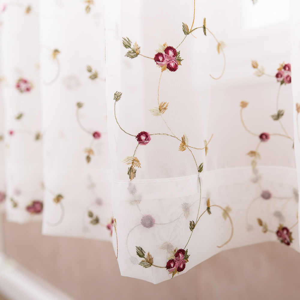 Elegant Vintage Red Rose Embroidered White Voile Curtains for Living ...