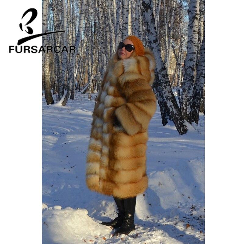 Fursarcar Des Long Femelle Cm Qualité 100 Renard Avec Capuchon Femmes D'hiver Or De Luxe Naturel Fourrure Veste Haute Manteau Réel WD2H9EIYe