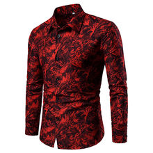 Luxe Merk Shirts Voor Mannen Vintage Stijl Print Blusa Turn Down Kraag Lange Mouwen Slim Fit Camisas Casual Shirts Streetwear top(China)