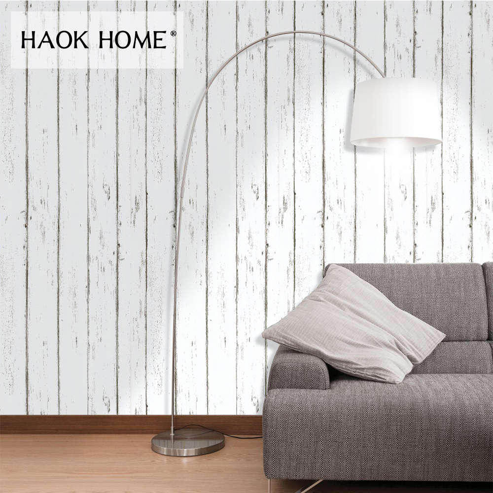 HaokHome 3d Wood Panel Wallpaper self adhesive Vinyl Rolls White For Living room bedroom study room funiture sticker home decor