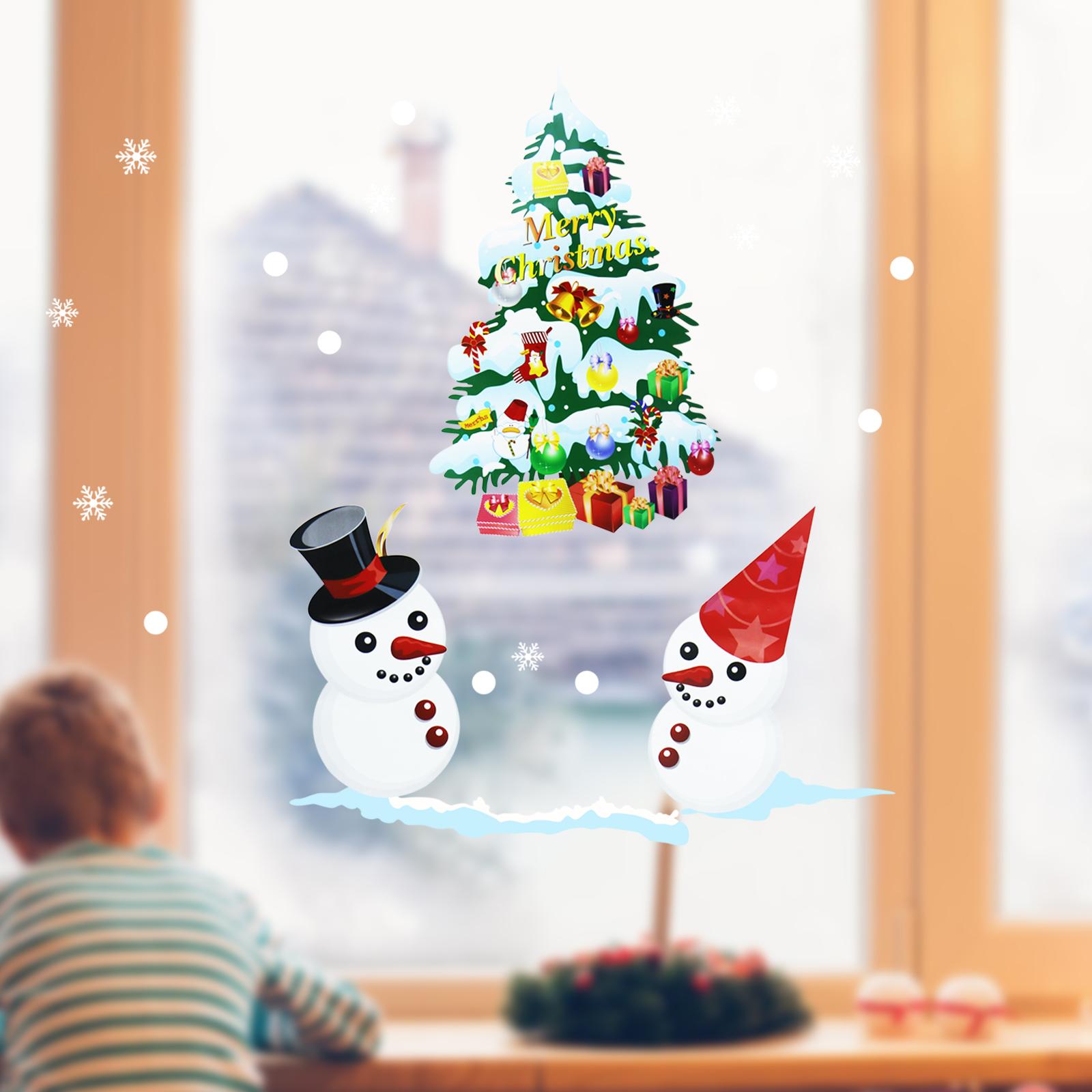 50x70cm New Year Window Stickers Christmas Elk Sticker Electrostatic ...