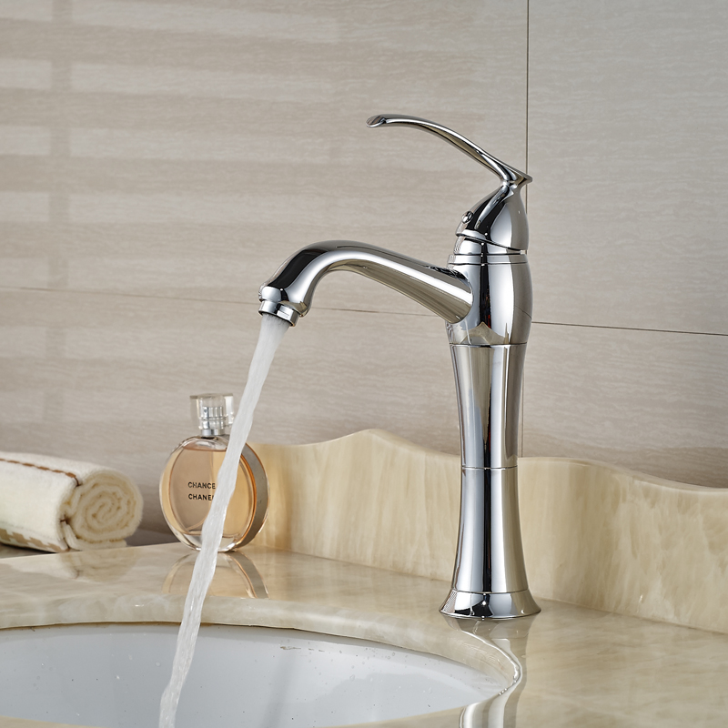 Polished chrome bathroom sink faucet single handle dolphin basin mixer taps deck mounted hot and - Dolphin faucet ...