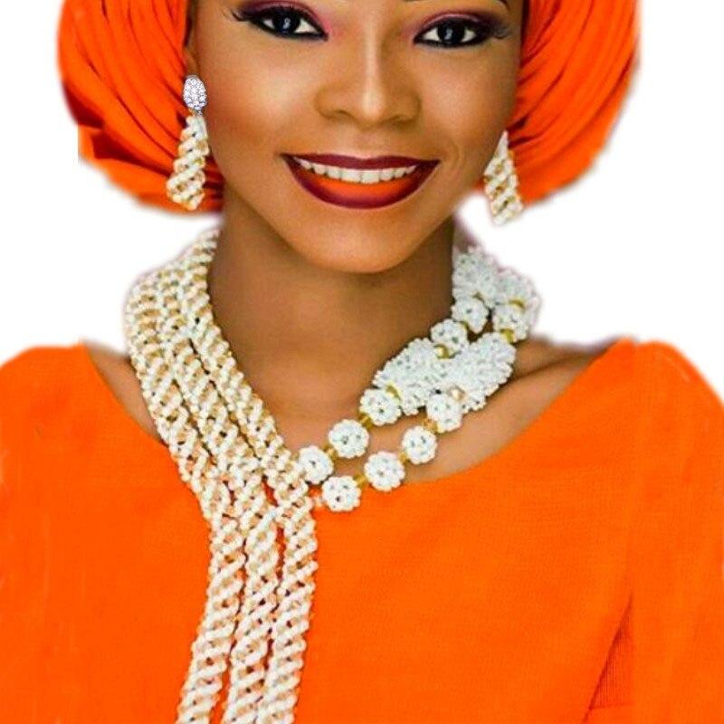 Dudo bijoux femmes africaines colliers ensembles filles blanc et or bijoux ensemble Dubai grand Design bijoux fins boucles d'oreilles Bracelet ensemble