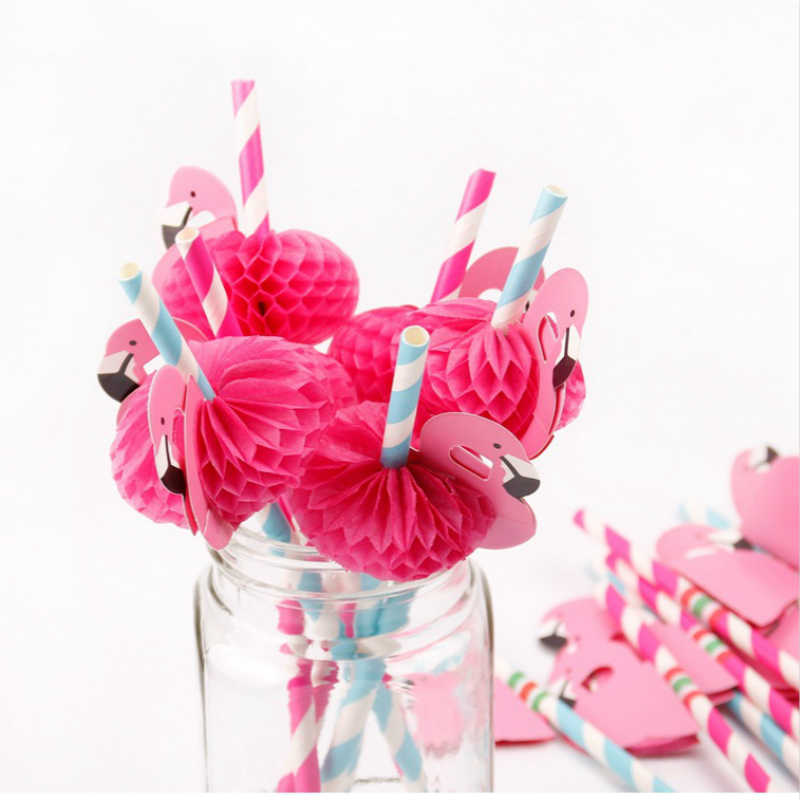12 piezas lindo papel Flamingo pajitas de color a rayas paja decoración de la boda ducha de bebé Hawaii fiesta de cumpleaños suministros