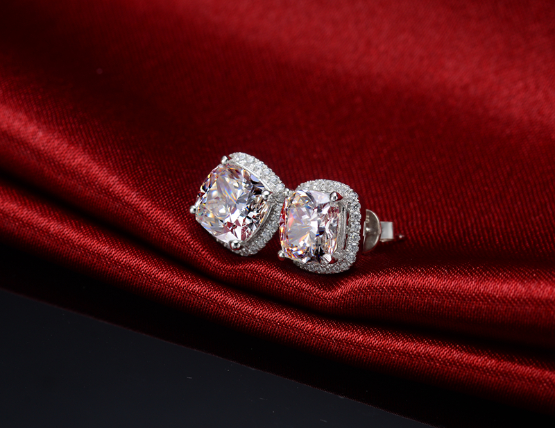 Genuine 925 Silver Earrings 3ct Cushion Cut Synthetic Diamonds Engagement Stud 585 Gold Color Jewelry Birthday Gift For In From