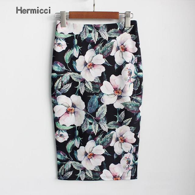 Hermicci 2018 Новое поступление пикантные & Club цветочный юбка-карандаш Высокая Талия Винтаж Bodycon мини-юбка женский, черный юбка