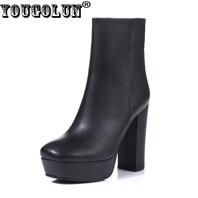 YOUGOLUN Women Ankle Boots Genuine Leather 2017 New Winter Autumn Thick Heel 12 cm High Heels Black White Platform Shoes #Y-125 yougolun women ankle boots 2018 autumn winter genuine leather thick heel 7 5 cm high heels black yellow round toe shoes y 233