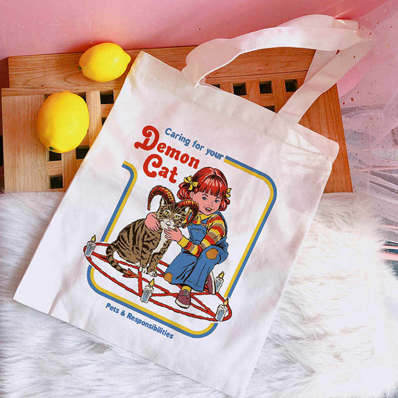 Caring for your demon cat Letter Print Summer Women Casual Shoulder Bag Large Capacity Cartoon Print canvas Harajuku Bags