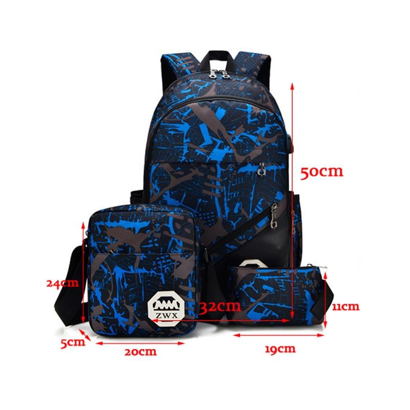 3 Pcs/set School Bags USB Charging Backpack Boys High School Backpacks Schoolbag For Teenagers Girls Student Book Bag Satchel