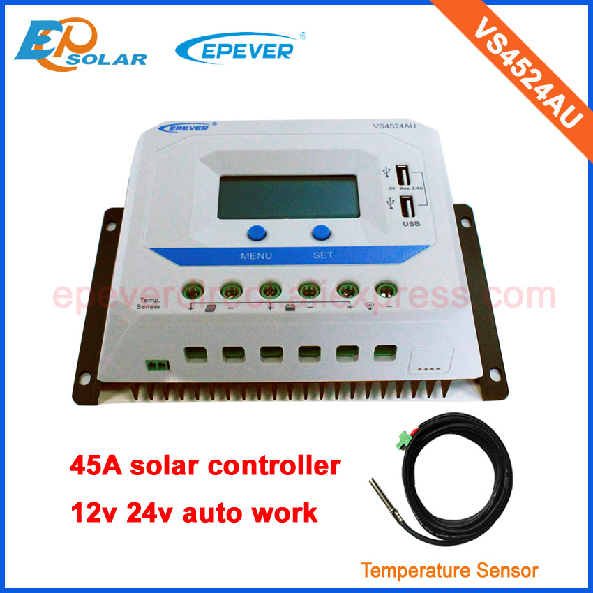 45A 45amp regulator PWM solar panel charger home system VS4524AU temperature sensor 12v 24v auto work free shipping ggx energy 100w foldable solar panel charger bag solar regulator 12v car boat battery charger solar laptop charger 1 array