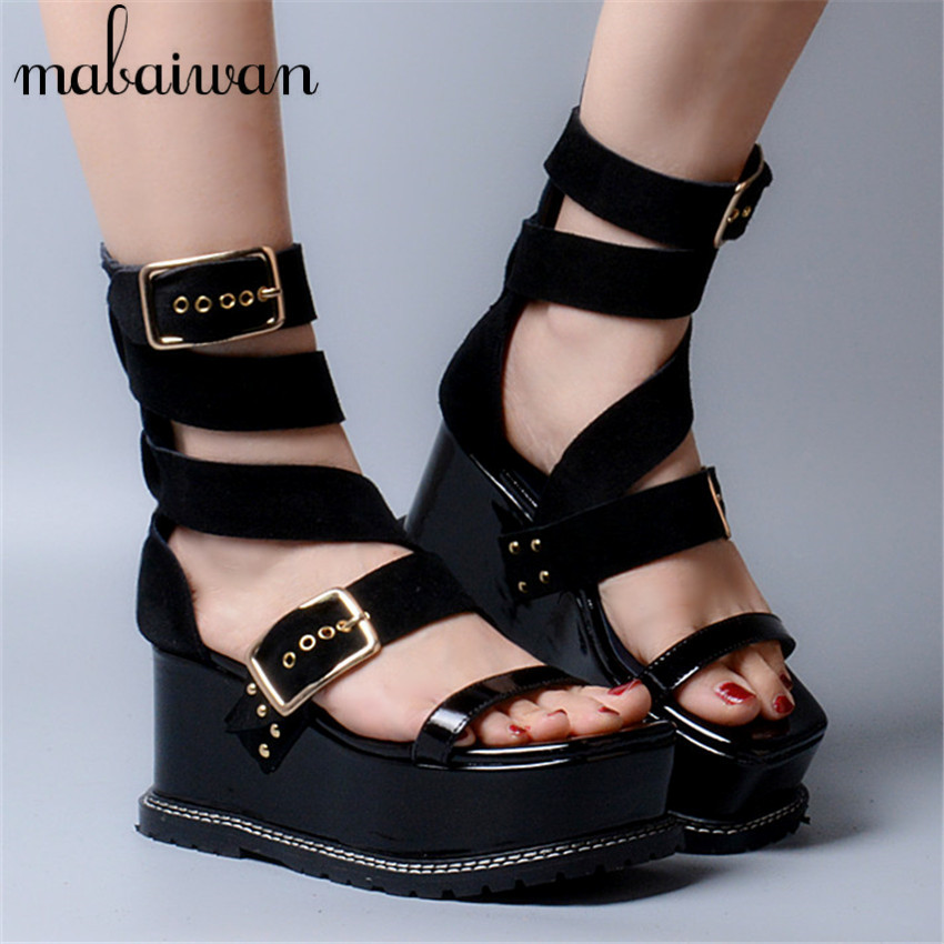 Sexy Black Women Genuine Leather Summer Sandals Ankle Straps Casual Platform Wedge Shoes Woman Gladiator Sandal Ladies Wedges summer wedges shoes woman gladiator sandals ladies open toe pu leather breathable shoe women casual shoes platform wedge sandals