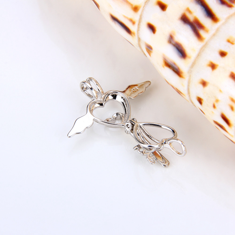 Image 3 - CLUCI 3pcs Romantic Angel Wing Silver 925 Key Pearl Pendant Locket Women Fine Jewelry 925 Sterling Silver Cage Pedant Locket-in Pendants from Jewelry & Accessories