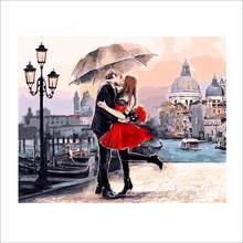 DIY Oil Painting By Numbers Romantic couple series Digital Wall Art Picture Coloring Paint Wall Sticker For Home Decor Gift(China)