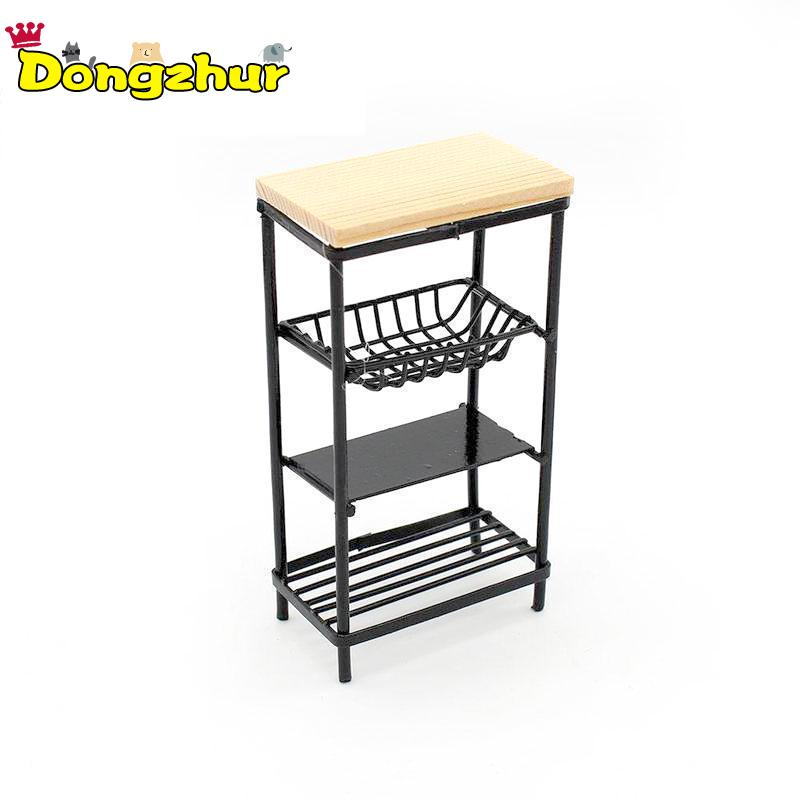 Miniature Kitchen Cabinet Kitchen Dining Cabinet Display Shelf Accessories For 1:12 Dollhouse Decoration Black Side Cabinet New