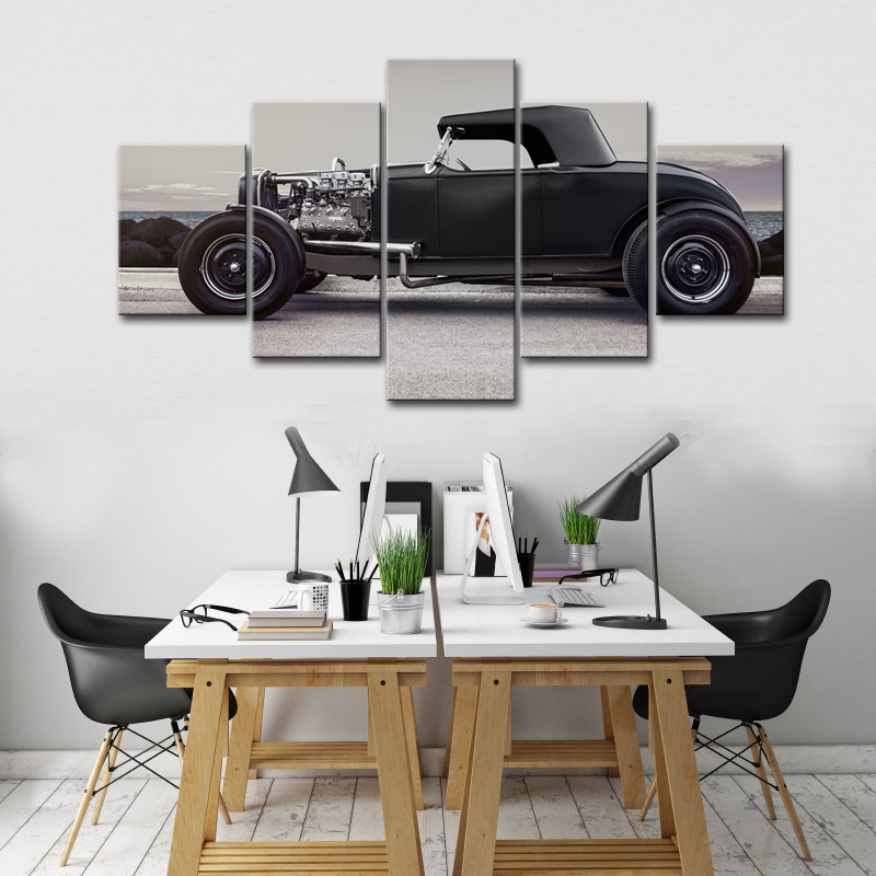 5 Piece Black Classic Car Wall Art Painting Modern HD Car Poster on the Wall Canvas Pictures for Living Room Decor No Frame