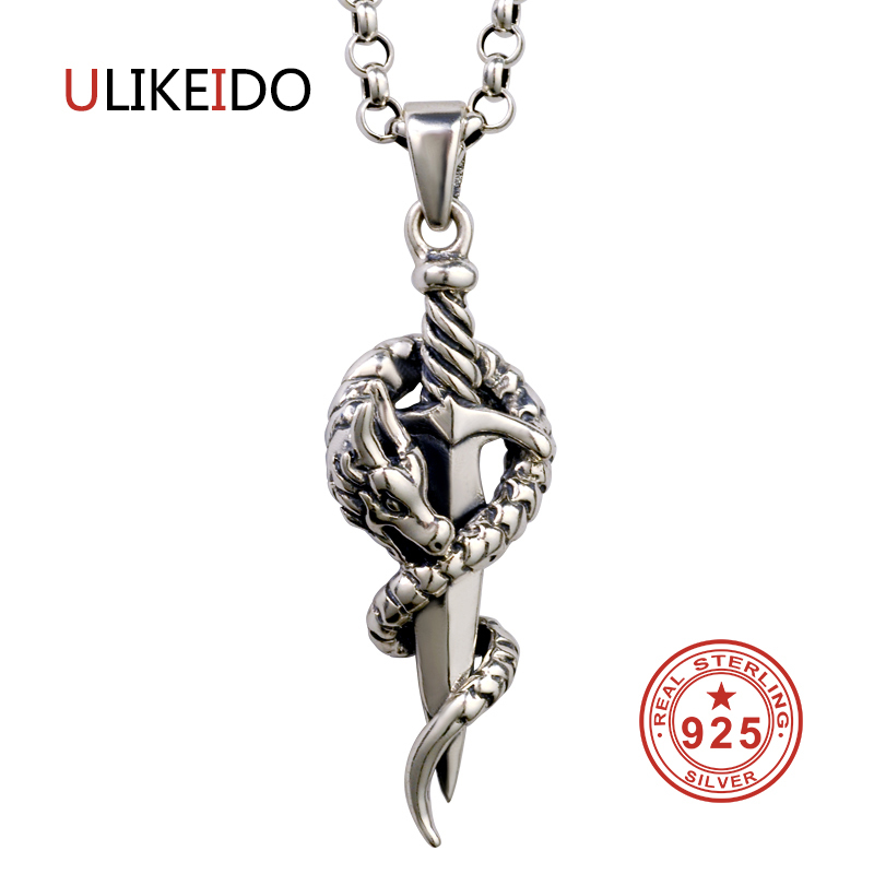 Pure 925 Sterling Silver Jewelry Dragon Sword Charms Punk Pendants for Men And Women Thai Silver Necklace Chain Fine Gift 1303Pure 925 Sterling Silver Jewelry Dragon Sword Charms Punk Pendants for Men And Women Thai Silver Necklace Chain Fine Gift 1303
