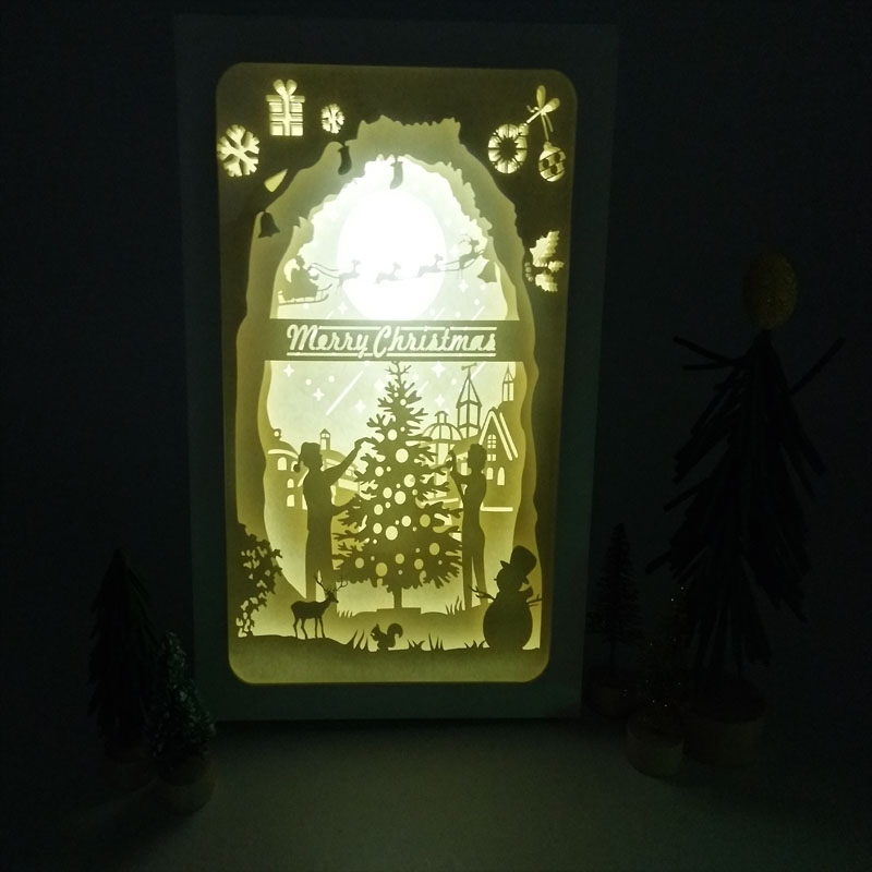 BOSHENG 3D Papercut Light Boxes Christmas Tree and Elk LED Night Light Lamp Luminary Lantern Shadow Box Indoor Decor Kids gift