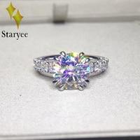 Тесты положительный Муассанит Обручение обручальное кольцо 18 К Белое золото 3 карат Юбилей подарок на день рождения Имитация Алмазный Шарм