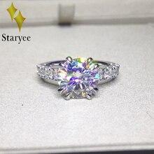 מבחן חיובי Moissanite אירוסין חתונה טבעת 18 k זהב לבן 3 קרט יום נישואים יום הולדת מתנה מדומה יהלומי קסם תכשיטים