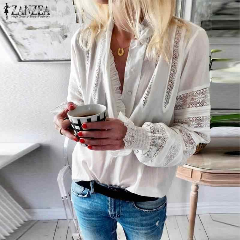 Mode Vrouwen v-hals Lange Mouwen Ruches Blouse ZANZEA Herfst Knoppen Down Solid Shirt Femme Hollow Out Lace Haak Blusas tops