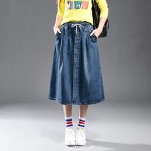 Summer Denim Midi Elastic Waist A -Line Plus Size Casual Skirt Large Female Leisure Pockets High Quality 9xl Tt2547